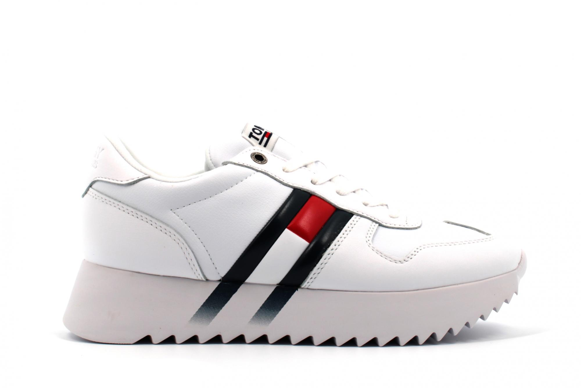 Dettagli su Tommy Hilfiger donna sneakers platform EN0EN00695 YBS HIGH CLEATED CORPORATE A19